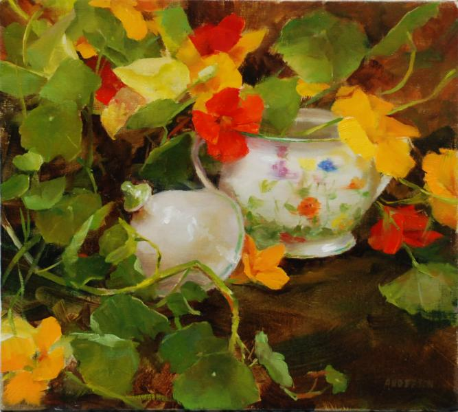 Nasturtium and Sugar, oil on canvas, 9 x 10 inches  SOLD