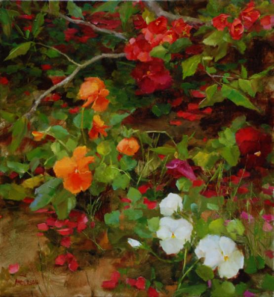 Quince and Pansies, oil on canvas, 15 x 16 inches  SOLD