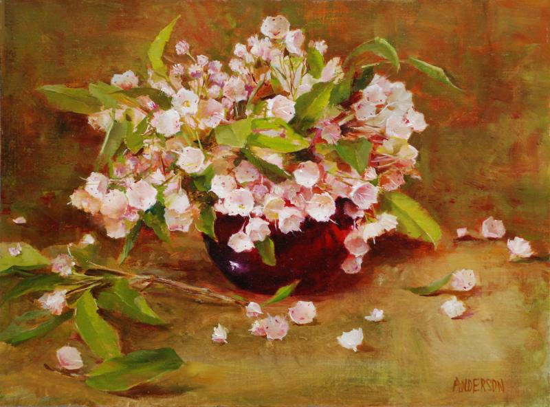 Ruby and Mountain Laurel, oil on canvas, 12 x 16 inches  SOLD