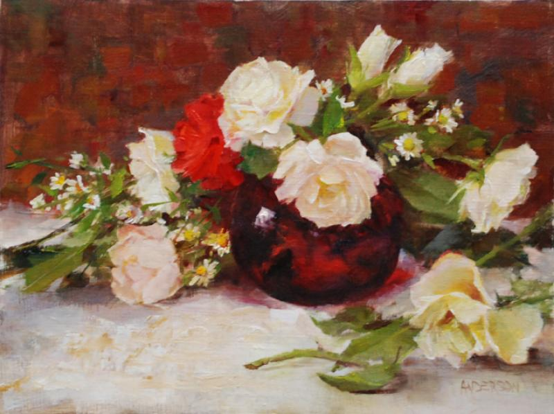 Ruby and Roses, oil on linen, 9 x 12 inches  SOLD