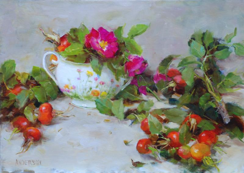 Sugar and Rose Hips, oil on linen, 10 x 14 inches  SOLD