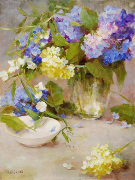 Sweet Pea and Blue Hydrangea, oil on panel, 16 x 12 inches  SOLD