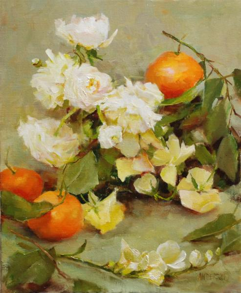 Tangerines and Ranunculus, oil on canvas, 12 x 10 inches  SOLD