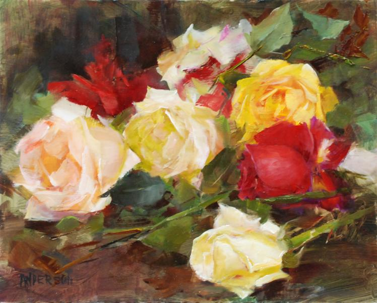 The Color of Roses, oil on panel, 8 x 10 inches  SOLD