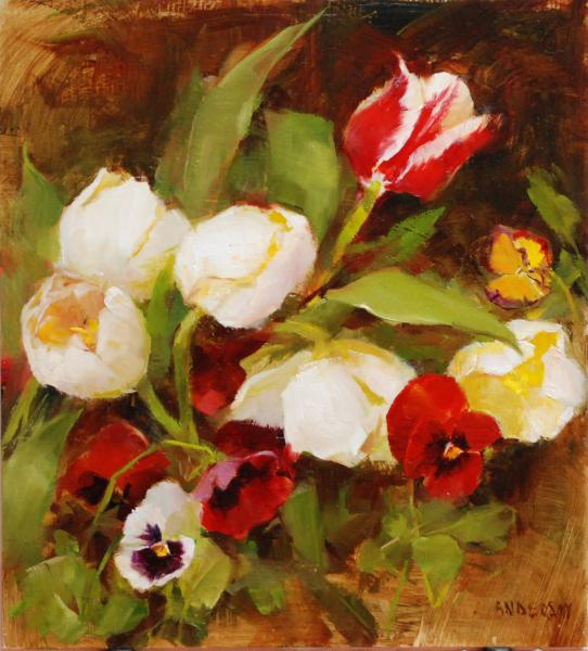 Tulips and Pansies, oil on panel, 10 x 9 inches  SOLD