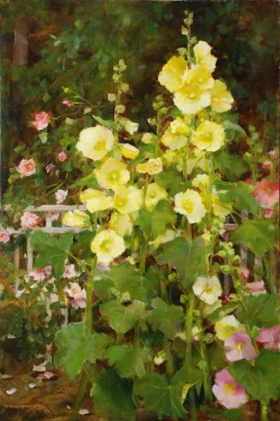 Hollyhocks and New Dawn Roses, oil on linen, 30 x 20 inches  SOLD