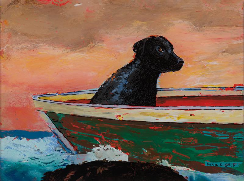 Black Dog, acrylic reverse painting on glass, 9 x 12 inches  SOLD