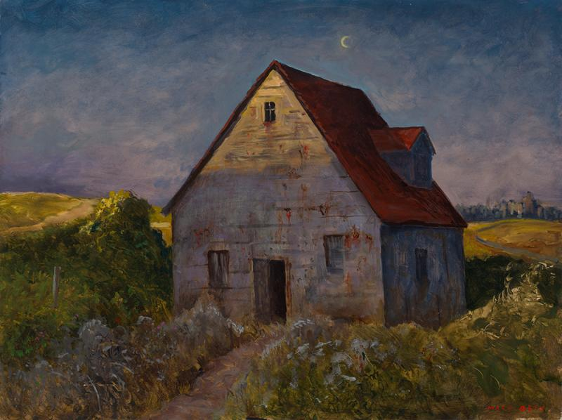 Moonrise over Brokenheartsville, oil on panel, 18 x 24 inches  SOLD
