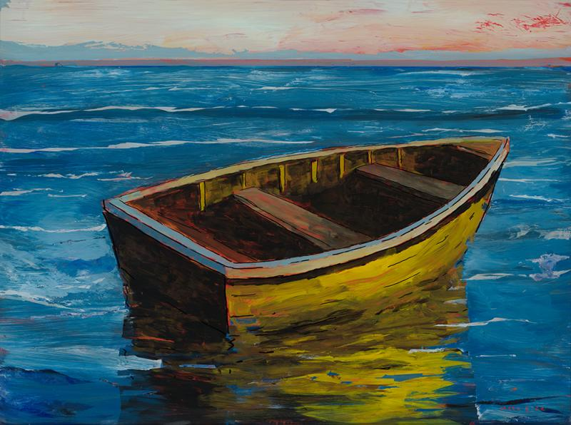 Yellow Boat, acrylic reverse painting on glass, 19 x 25 inches  SOLD