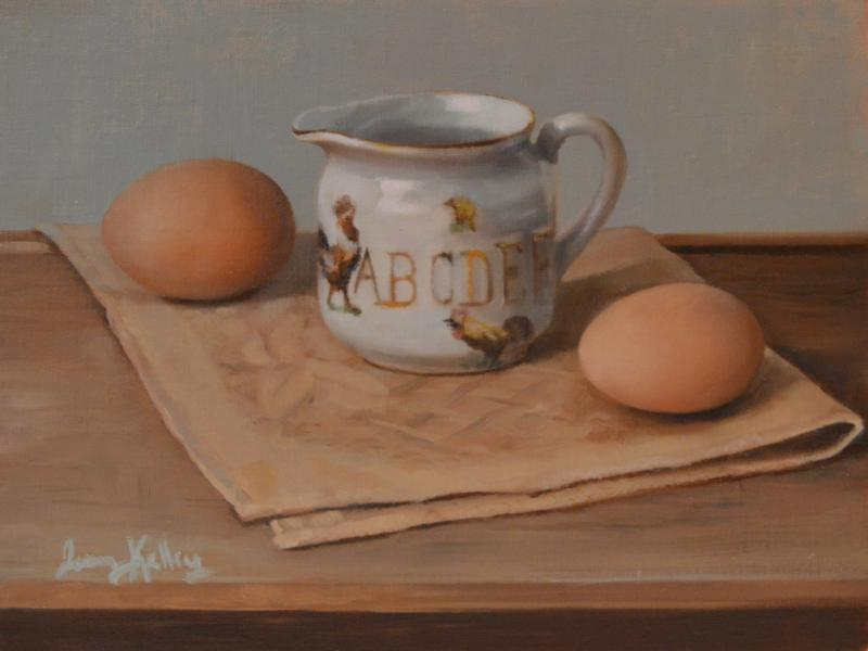 Chickens and Eggs, oil on linen, 6 x 8 inches  SOLD