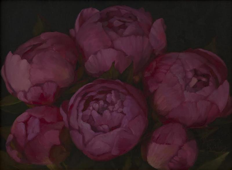 Fulham Road Peonies, oil on linen, 6 x 8 inches, $700