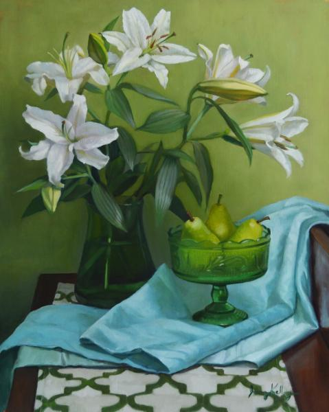Lilies and Pears, Spectrum Series, oil on linen, 20 x 16 inches, $2,500