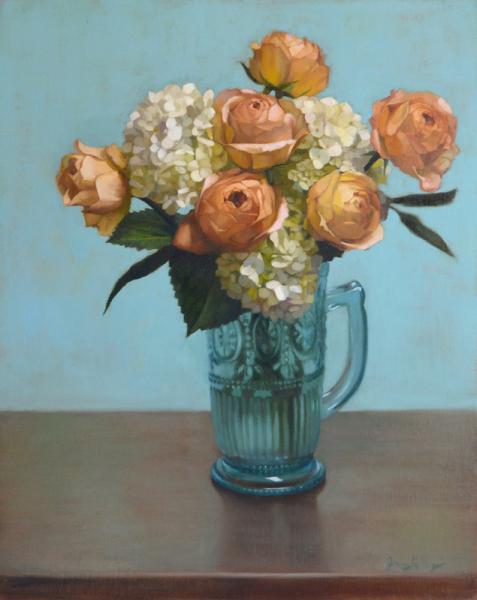 Jenny-kelley white-hydrangea-and-caramel-roses 20x16 oil-on-linen-weblr