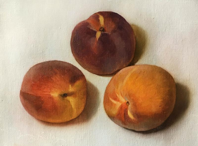 Peaches, oil on linen, 6 x 8 inches, $700