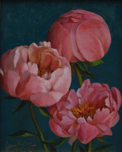 Coral Peonies, oil on panel, 10 x 8 inches, $800