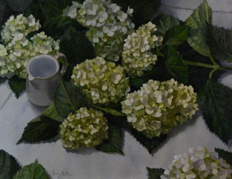 Hydrangeas on a White Tablecloth, oil on linen, 16 x 20 inches   SOLD