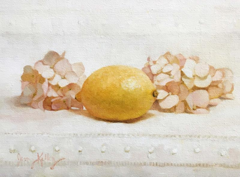 Lemon and Pink Hydrangeas, oil on linen, 6 x 8 inches, $700