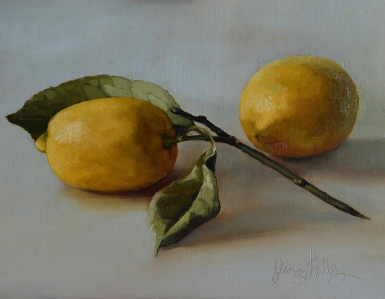Lemon with Leaves, oil on linen, 8 x 10 inches   SOLD