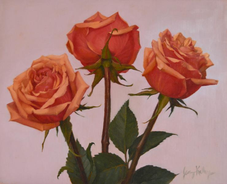 Peach and Pink Roses, oil on linen, 8 x 10 inches, $800