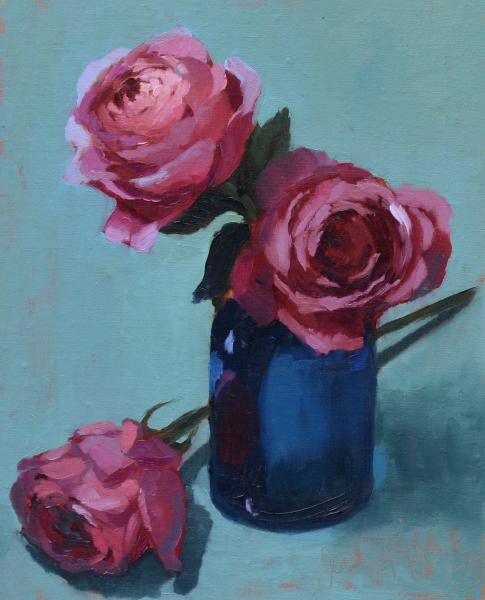 Pink Rose, Study, oil on linen, 10 x 8 inches, $800