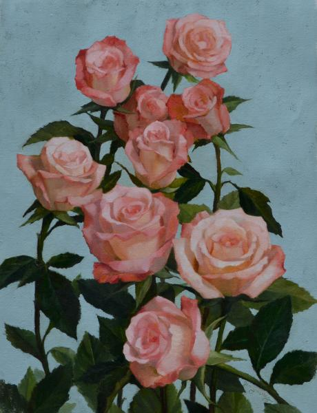 Rambling Roses, oil on linen, 16 x 12 inches, $2,000