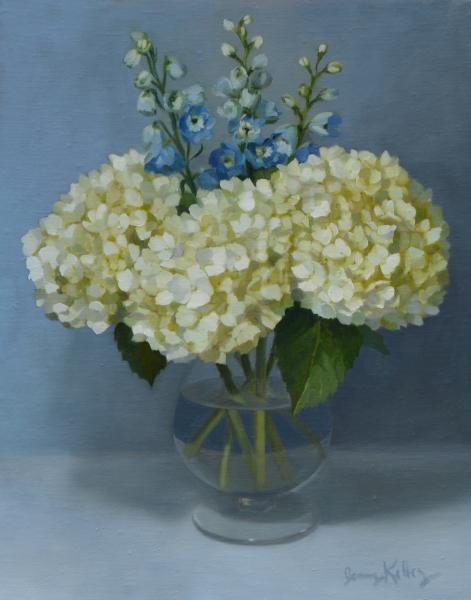 White Hydrangea and Delphinium, oil on linen, 14 x 11 inches  SOLD
