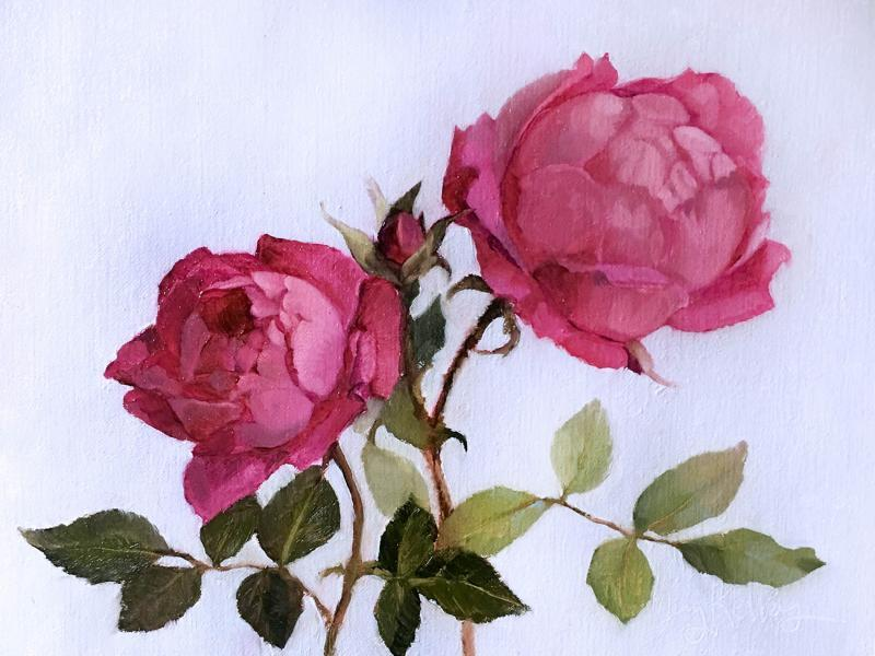Late Garden Roses, oil on linen, 6 x 8 inches, $700