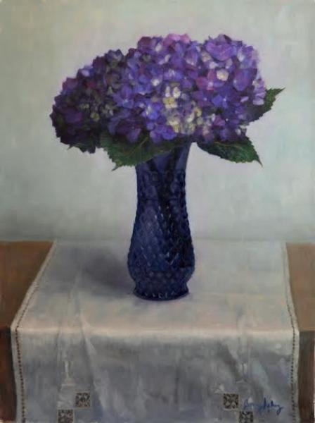 Purple Hydrangeas in a Blue Vase, oil on linen, 24 x 18 inches   SOLD