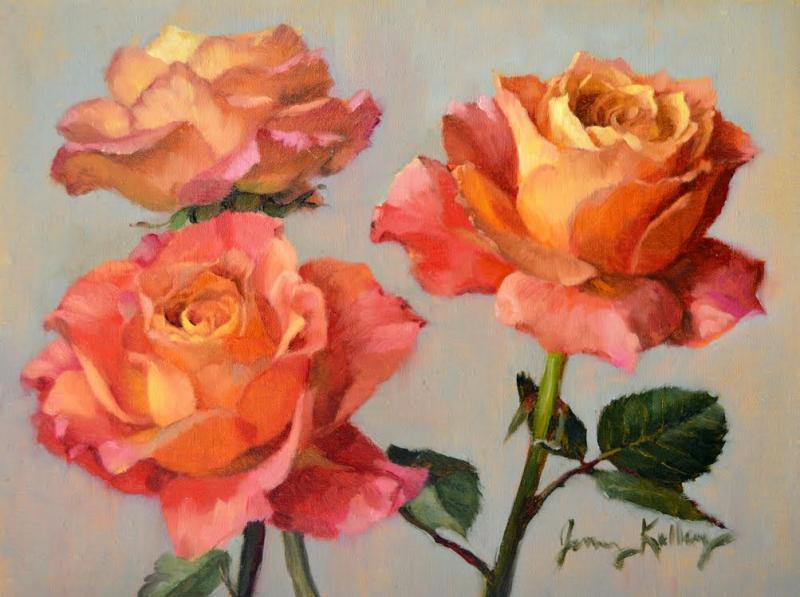 Rainbow Roses, oil on linen, 6 x 8 inches  SOLD