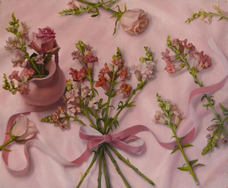 Snapdragons, Roses and Ribbons , oil on linen, 20 x 24 inches, $3,200
