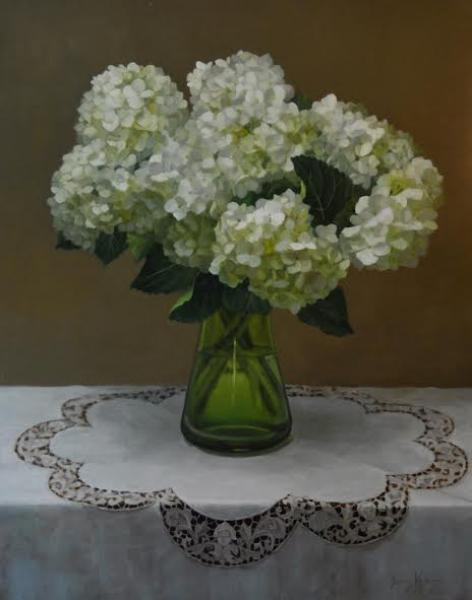 White Hydrangeas in a Green Vase, oil on linen, 28 x 22 inches  SOLD