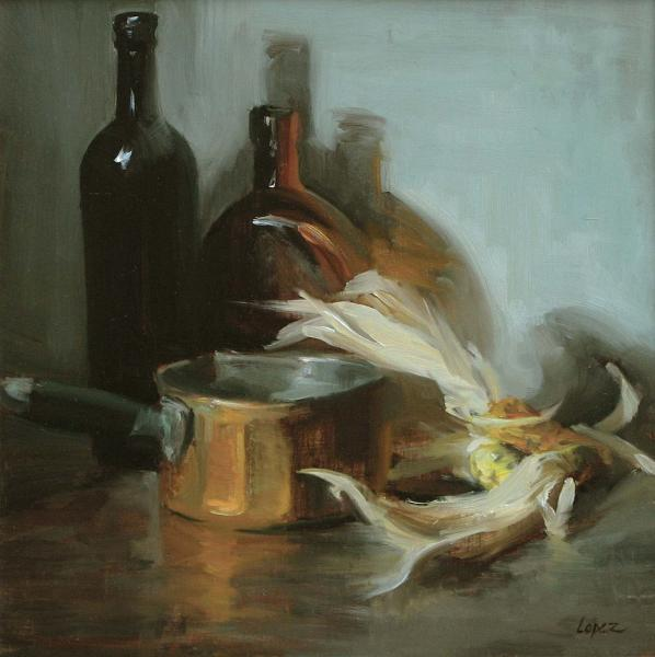 Bottles, Copper and Corn, oil on panel, 12 x 12 inches, $2,200