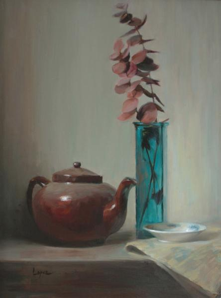 Tea at Three, oil on panel, 18 x 14 inches, $4,200