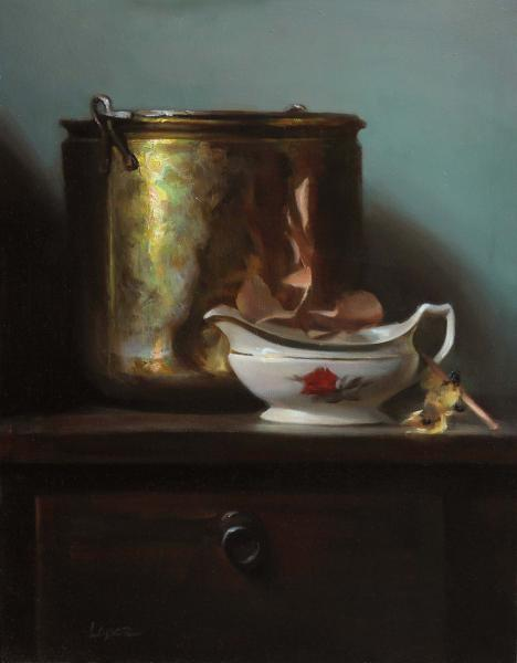 The Red Rose, oil on panel, 18  x 14 inches, $4,200