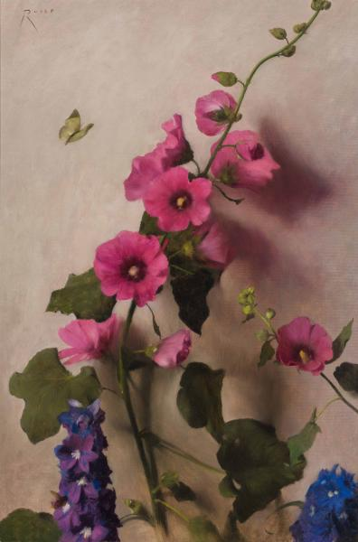 The Visitor (Hollyhock and Delphinium), oil on linen, 20.5 x 13.5 inches  SOLD