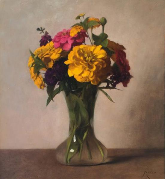 Zinnias, oil on linen, 12 x 11 inches  SOLD