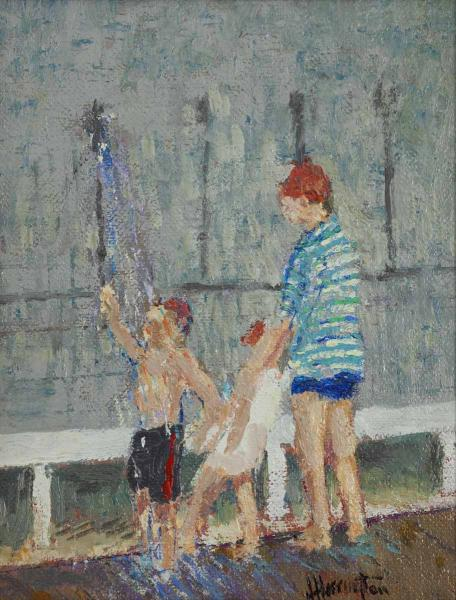 Rinsing Off at Jetties, oil on canvas, 16 x 18 inches, $1,500