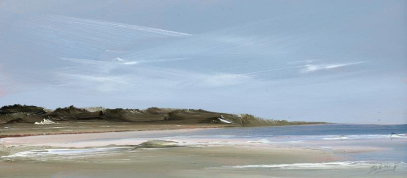 Course, Old Field Point, Orleans, oil on copper, 4 x 9 inches   SOLD