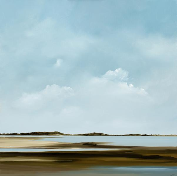 The Flats, Chequessett Neck, Wellfleet, oil on canvas, 40 x 40 inches, $8,000