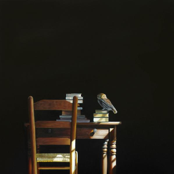 Night Owl, oil on canvas, 36 x 36 inches  SOLD