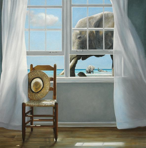 Pachyderm Holiday, oil on canvas, 36 x 36 inches  SOLD