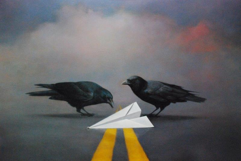 As the Crow Fles, oil on linen, 39 x 58 inches, $Please Inquire