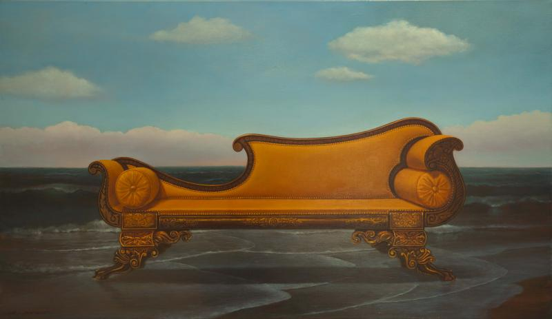 Sofa at Sea , oil on linen, 24 x 42 inches, $Please Inquire