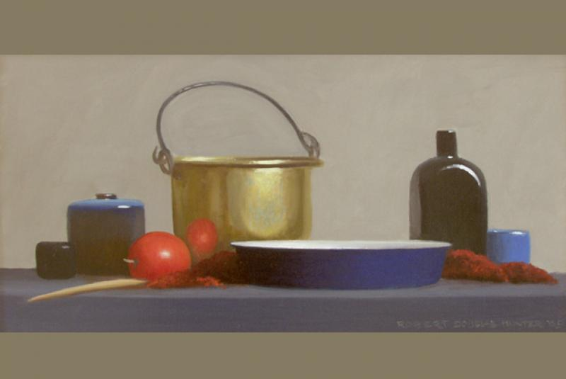Brass, Red and Blue, oil on canvas, 12 x 24 inches  SOLD