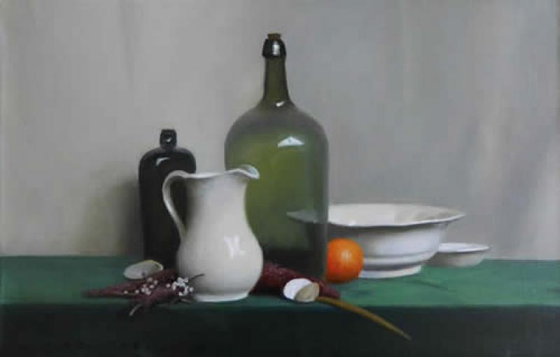 Glass, Pottery and Orange, oil on canvas, 12 x 20 inches  SOLD