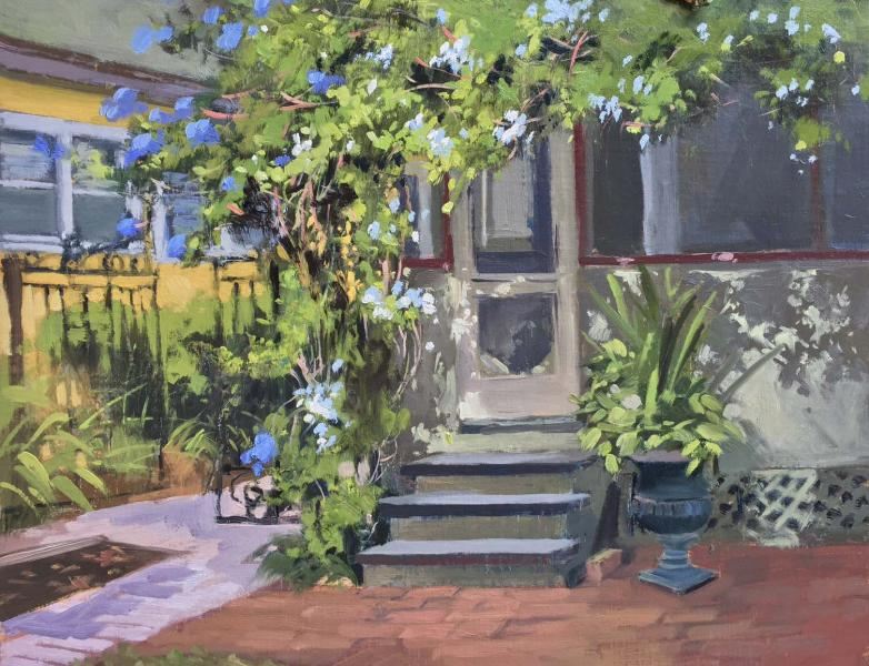 Imperial Blue Plumbago and Jasmine, oil on linen panel, 11 x 14 inches, $2,500