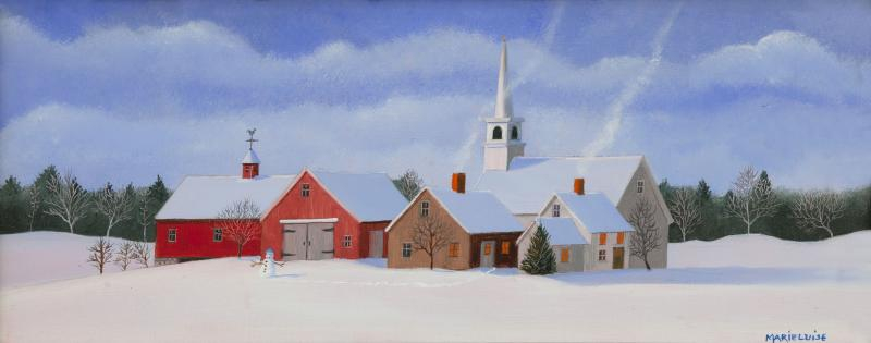 Christmas in New England, oil on panel, 5 x 12 inches, $2,000