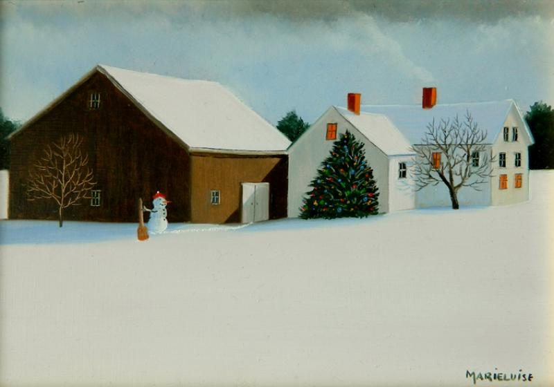 Country Christmas, oil on panel, 5 x 7 inches  SOLD