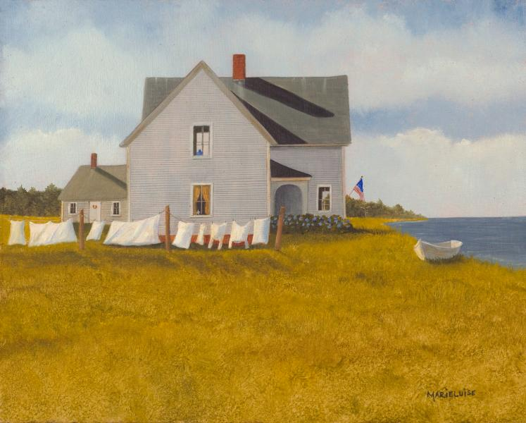 Wash Day in Wellfleet, oil on panel, 8 x 10 inches  SOLD