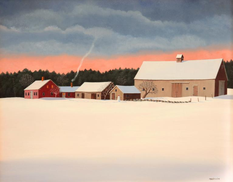 Amid Winter's Snow, oil on panel, 16 x 20 inches  SOLD